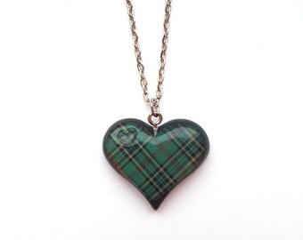 Tartan Heart Necklace ~ Scottish green tartan heart necklace