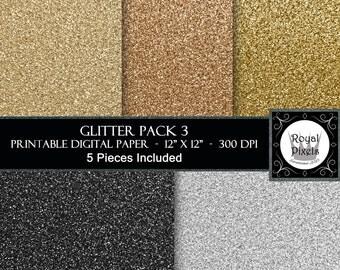 5 Glitter Digital Paper - Sparkle Paper - Glitter Texture - Silver, Black, Gold - Printable or Digital Paper #97