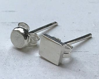 Mismatched earrings, mismatched silver posts, round and square silver studs, small silver post earrings, tiny handmade silver stud earrings