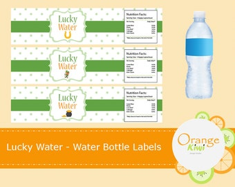 Lucky Water Irish Drinking Water Labels, , Water Bottle Labels, St Patrick's Day Water Bottle Wraps, Waterproof Labels, St Pattys Day Decor