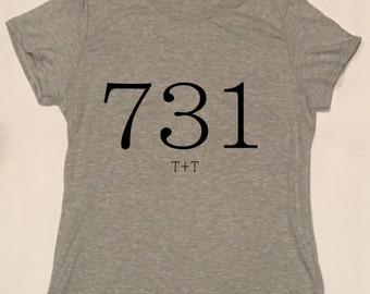 731 Area Code Design on Scoopneck T-Shirt