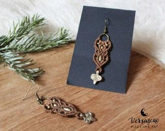 Macramé earrings 'Oriental 2' nut Brown