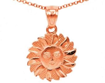 10k Rose Gold Happy Face Sun Pendant Necklace