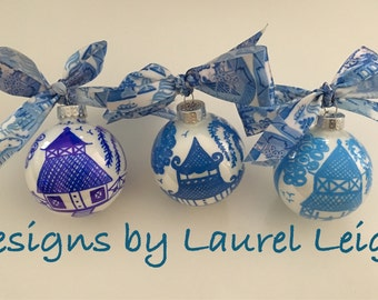 Chinoiserie Ornament | Blue and White, Pagoda, Hostess, Holiday, Christmas, Housewarming, Gift, Blue Willow