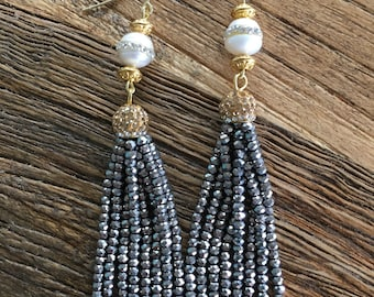 Pearl Tassel Earrings | SILVER and GOLD, GUNMETAL, dressy, party jewelry, bridal, wedding, bridesmaid gift, statement earrings