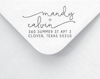 Return Address Stamp - Calligraphy & Handwriting Font. Handle or Self-Inking Return Address Stamp (AA71)