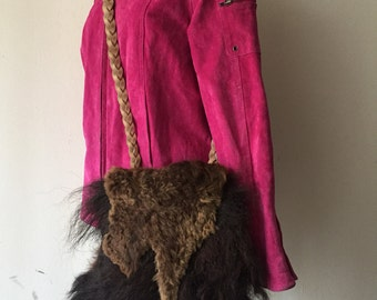 Real crossbody fur bag, fluffy fur from buffalo fur vintage retro bag stylish bag old bag women's bag handmade dark brown color size-medium.