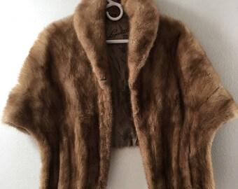 Bright beige women's soft fur bolero, real mink, really velvet fur, fluted design, furry fur, festive look, vintage style, size - universal.