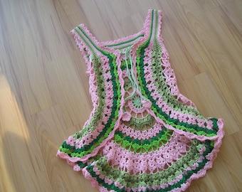 Crocheted Vest for children in hippie style, Gr. 110/116 green, pink, circle vest, crocheted hippie vest, cotton