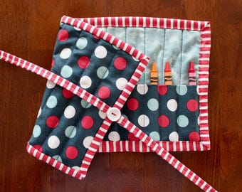 Polka Dot Crayon Holder, Navy Blue Crayon Roll, Blue Crayon Tote, Red Crayon Holder, Red White Blue, Gender Neutral, Crayon Roll Up, Crafts