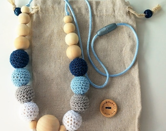Wood and crochet-Wooden balls nursing necklace ring and nursing necklace-Teething beads crocheted necklace-Baby wooden theether