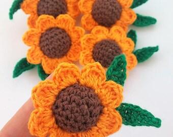6 20mm wooden bead cover crochet, form of sunflower-6pcs 20mm Wooden beads with crochet cover in sunflower shape-Crochet flower