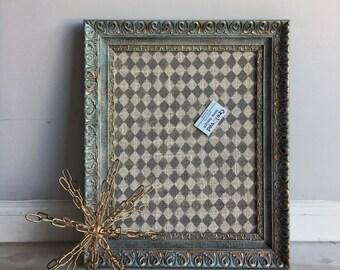 Reloved, Refurbished Wood Vintage Ornate Picture Frame Memo Cork Board
