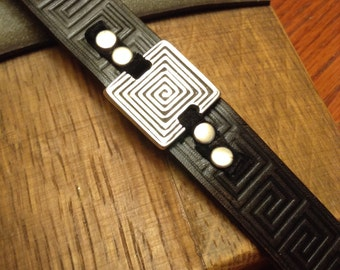 Leather Bracelet; Leather Cuff; Leather Wristband;  With Silver Slider