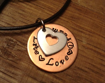 Hand Stamped Necklace - Live Love Dream Necklace - Gift for Her