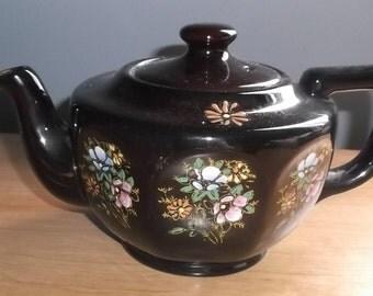 Brown Moriage Pink & Blue Floral Ceramic TEAPOT Squatty - Japan