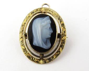 Antique 14K Yellow Gold Sardonyx Cameo Madonna Pin/Pendant circa 1915 #237