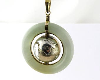 Vintage Jade and 14K Yellow Gold Rotating Planet Earth Pendant #182