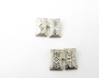 Vintage 14 Karat White Gold and Diamond Cufflinks #1857