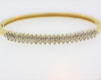 Stacked Diamond Bangle Bracelet- 14k Yellow Gold
