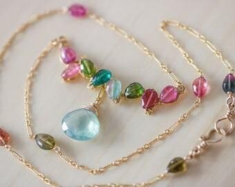 Watermelon Tourmaline Necklace, Tourmaline Pendant, Tourmaline Bar Necklace,Pink Tourmaline Necklace Wire Wrapped Tourmaline Necklace Gold