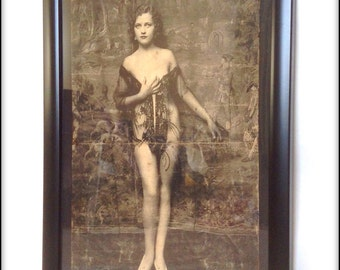 Aged reproduction Victorian glamour girl print in frame.