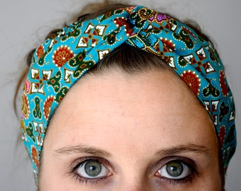 Headband P' little trickster Batik blue turquoise woman spring