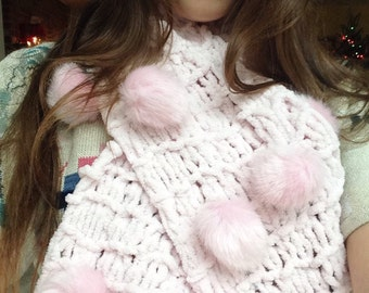 Puffball Scarf in Pink or White: Super Soft Warm Scarf