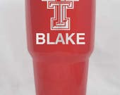 Texas Tech Red Raiders YETI RTIC 10 20 30 oz colster lowball tumber red black stainless personalized