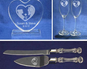 Beauty and the Beast Belle Heart Crystal wedding cake topper toasting glasses and knife & cake server personalized