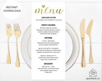 GOLD Wedding Menu Template, Wedding Menu Template, Printable Menu, Metallic Wedding, Gold Wedding, DIY Wedding Menus