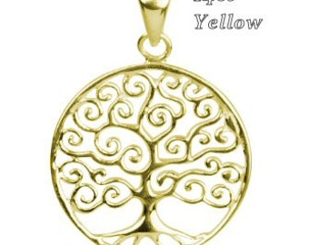 14k Yellow Gold Pendant Tree Of Life Contemporary Design