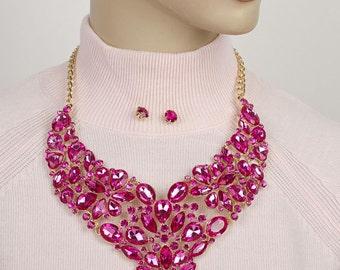Pink rhinestone necklace statement Jewellery Set Pink Crystal Necklace Rhinestone Necklace  AB Bib necklace Statement ''STATEMENT NECKLACE''