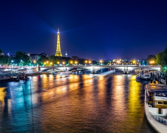 Paris, France. Night view of the Eiffel tower and the Seine. Romantic print, home decor