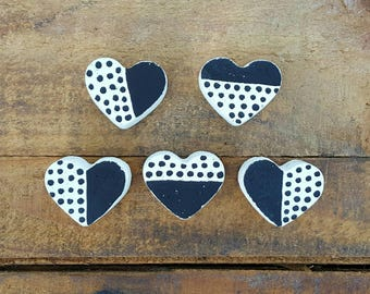 Mini Concrete Heart Magnets, Fridge magnets, Office magnets , Gift idea.