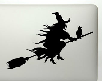 witch black cat and broomstick vinyl decal sticker for car windows laptops - Halloween Window Decals