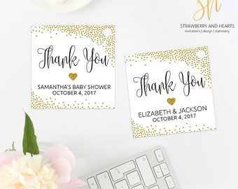 Printable Gift Tags, Printable Party Tags, Favor Tags, Gold Confetti, Gold Glitter, Gold Thank You Tags, Print At Home, SH20 SH05 SH13 SH61