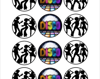 Edible Disco Themed Cupcake Cookie Toppers