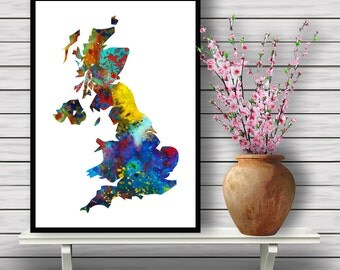 Colorful Map of the UK, Island Country, Watercolor Room Decor, Britain's Map Home Decoration, gift, Instant Download (407)