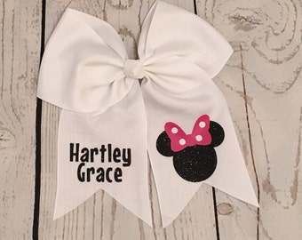 Minnie Mouse Hair Bow, Personalized Hair Bow, Accessories, Disney Hair Bow, Custom bow, Birthday Bow, Disney Bow, Cheerleading Bow, Hair bow