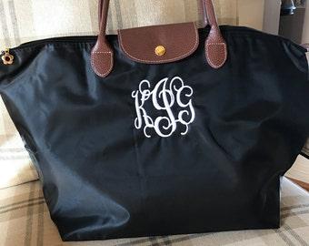"Monogrammed ""Longchamp"" look tote bag"