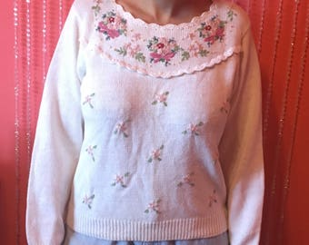 Vintage 90's pink flower sweater/white floral sweater/Jessica Roberts sweater
