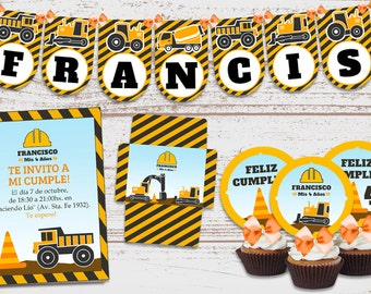 "Luxury printable Kit ""construction"" Birthday decoration baby. Trucks. Crane. Super full. Customized, ready to print."