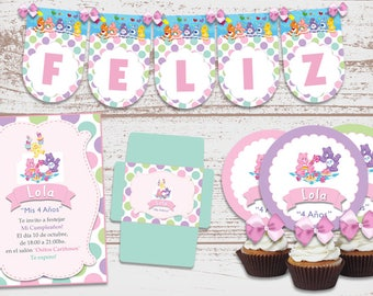 "Luxury printable Kit ""cuddly bears"" birthday parties baby. Invitations. Cards. Candy Bar. Customized, ready to print."