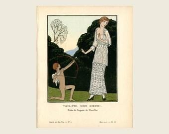 1913 Antique French Fashion Print - Gazette Du Bon Ton - Tais-Toi Mon Coeur - Valentine Cupid & Bow - Be Still My Heart - Original Antique