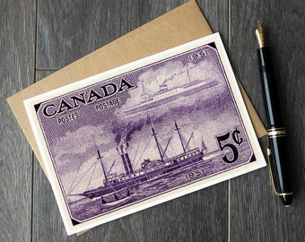Canadian stamp cards, old steamship birthday card, sailing ship christmas cards, canadian retirement cards, unique teacher gift ideas, cards