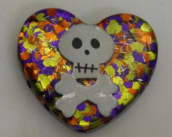 Skull Heart Brooch