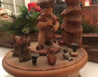 Vintage ANRI Carved Wooden Music Box - plays Look To the Rainbow - boy piper to birds rabbits squirrels
