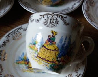 crinoline lady cups and saucers tea
