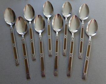 Vintage IIC Brown Silverware Imperial Stainless Flatware 10 Teaspoons Spoons